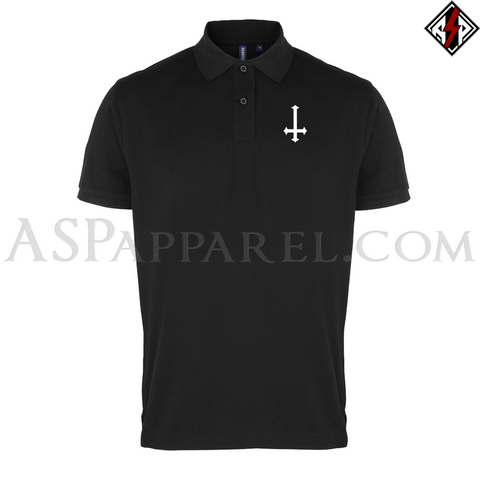 Inverted Cross Polo Shirt-satanic-clothing-heathen-merchandise-by-ASP Culture