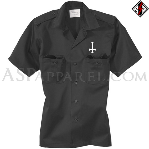 Inverted Cross Short Sleeved Heavy Military Shirt-satanic-clothing-heathen-merchandise-by-ASP Culture