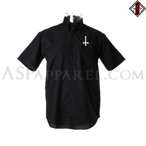 Inverted Cross Short Sleeved Shirt-satanic-clothing-heathen-merchandise-by-ASP Culture