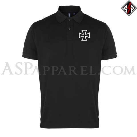 Iron Cross Polo Shirt-satanic-clothing-heathen-merchandise-by-ASP Culture