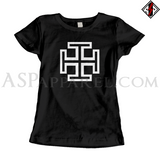 Kruckenkreuz (Cross Potent) Ladies' T-Shirt-satanic-clothing-heathen-merchandise-by-ASP Culture