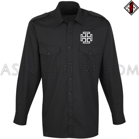 Kruckenkreuz (Cross Potent) Long Sleeved Light Military Shirt-satanic-clothing-heathen-merchandise-by-ASP Culture