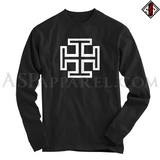 Kruckenkreuz (Cross Potent) Long Sleeved T-Shirt-satanic-clothing-heathen-merchandise-by-ASP Culture