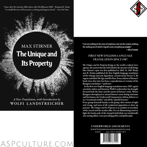 The Unique and Its Property | Max Stirner / Wolfi Landstreicher-satanic-clothing-heathen-merchandise-by-ASP Culture