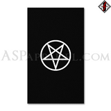 Pentagram Circle Banner Flag (Vertical)-satanic-clothing-heathen-merchandise-by-ASP Culture