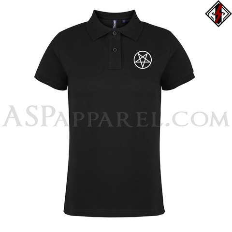 Pentagram Circle Ladies' Polo Shirt-satanic-clothing-heathen-merchandise-by-ASP Culture