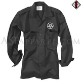Pentagram Circle Long Sleeved Heavy Military Shirt-satanic-clothing-heathen-merchandise-by-ASP Culture