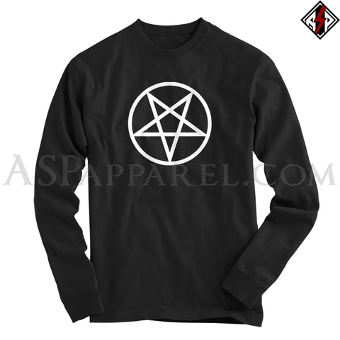 Pentagram Circle Long Sleeved T-Shirt-satanic-clothing-heathen-merchandise-by-ASP Culture