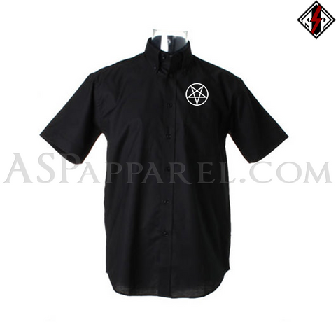 Pentagram Circle Short Sleeved Shirt-satanic-clothing-heathen-merchandise-by-ASP Culture