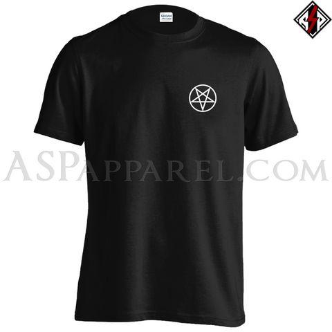 Pentagram Circle T-Shirt - Small Print-satanic-clothing-heathen-merchandise-by-ASP Culture