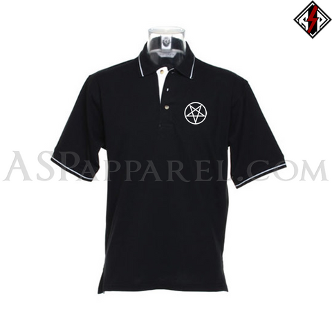 Pentagram Circle Tipped Polo Shirt-satanic-clothing-heathen-merchandise-by-ASP Culture