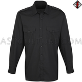 Plain Long Sleeved Light Military Shirt-satanic-clothing-heathen-merchandise-by-ASP Culture