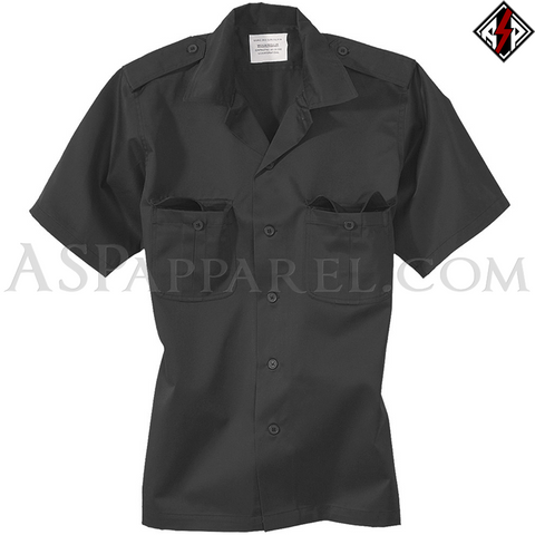 Plain Short Sleeved Heavy Military Shirt-satanic-clothing-heathen-merchandise-by-ASP Culture