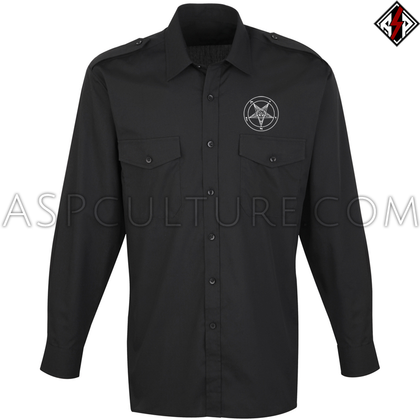Sigil of Baphomet Long Sleeved Light Military Shirt-satanic-clothing-heathen-merchandise-by-ASP Culture