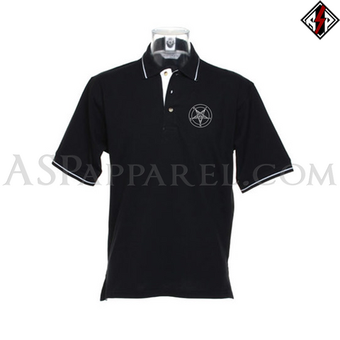 Sigil of Baphomet Tipped Polo Shirt-satanic-clothing-heathen-merchandise-by-ASP Culture