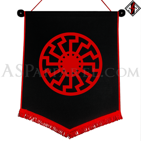Sonnenrad (Black Sun) Chevron Pennant-satanic-clothing-heathen-merchandise-by-ASP Culture