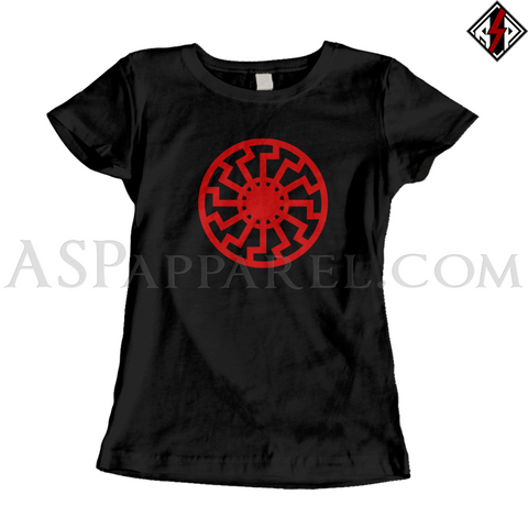 Sonnenrad (Black Sun) Ladies' T-Shirt-satanic-clothing-heathen-merchandise-by-ASP Culture