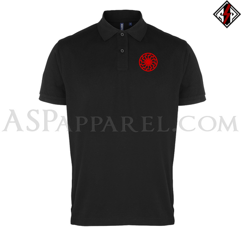 Sonnenrad (Black Sun) Polo Shirt-satanic-clothing-heathen-merchandise-by-ASP Culture