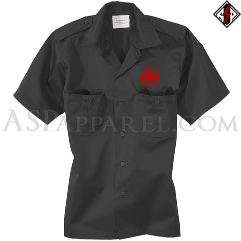 Sonnenrad (Black Sun) Short Sleeved Heavy Military Shirt-satanic-clothing-heathen-merchandise-by-ASP Culture