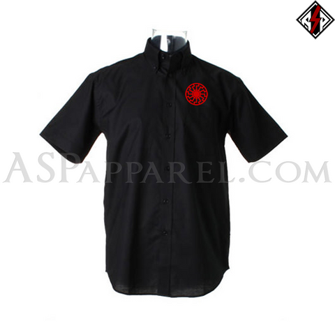 Sonnenrad (Black Sun) Short Sleeved Shirt-satanic-clothing-heathen-merchandise-by-ASP Culture