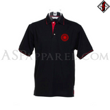 Sonnenrad (Black Sun) Tipped Polo Shirt-satanic-clothing-heathen-merchandise-by-ASP Culture