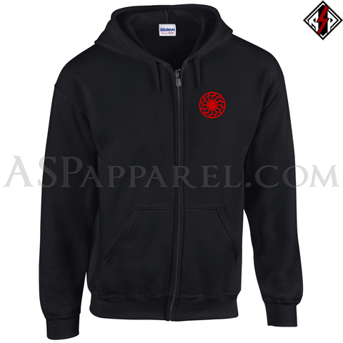 Sonnenrad (Black Sun) Zipped Hooded Sweatshirt (Hoodie)-satanic-clothing-heathen-merchandise-by-ASP Culture