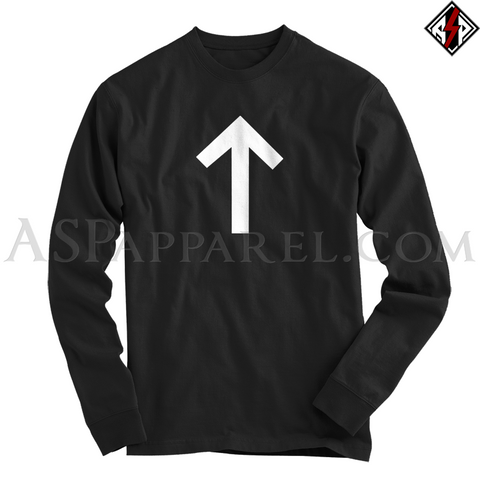 Tiwaz Rune Long Sleeved T-Shirt-satanic-clothing-heathen-merchandise-by-ASP Culture