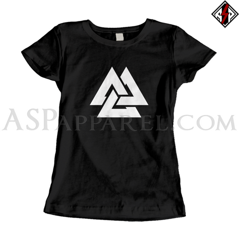 Valknut Ladies' T-Shirt-satanic-clothing-heathen-merchandise-by-ASP Culture