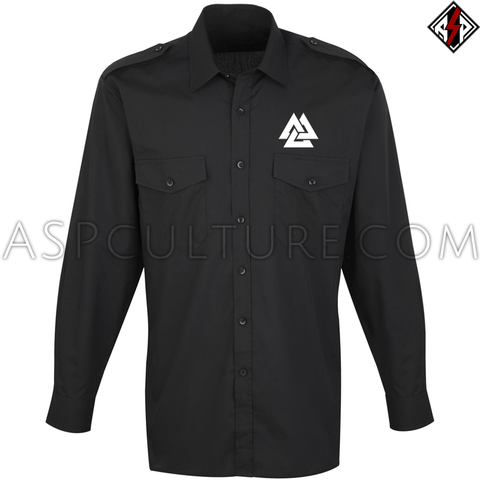 Valknut Long Sleeved Light Military Shirt-satanic-clothing-heathen-merchandise-by-ASP Culture