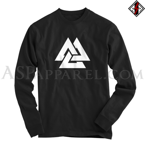 Valknut Long Sleeved T-Shirt-satanic-clothing-heathen-merchandise-by-ASP Culture