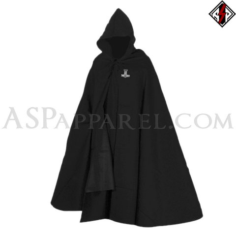 Valknut Thor's Hammer Hooded Ritual Cloak-satanic-clothing-heathen-merchandise-by-ASP Culture