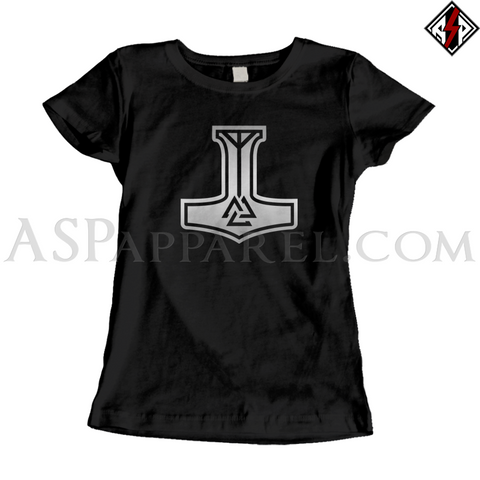 Valknut Thor's Hammer Ladies' T-Shirt-satanic-clothing-heathen-merchandise-by-ASP Culture