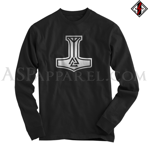 Valknut Thor's Hammer Long Sleeved T-Shirt-satanic-clothing-heathen-merchandise-by-ASP Culture