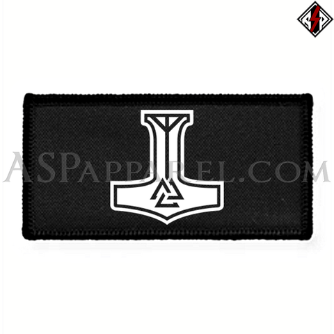 Valknut Thor's Hammer Rectangular Patch-satanic-clothing-heathen-merchandise-by-ASP Culture