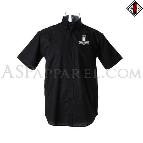 Valknut Thor's Hammer Short Sleeved Shirt-satanic-clothing-heathen-merchandise-by-ASP Culture