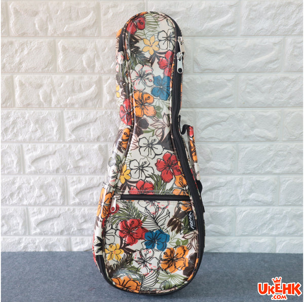 A'AMA Designer Series Gig Bag Soprano-Hibiscus Floral White(DS-HIB-WT-S)