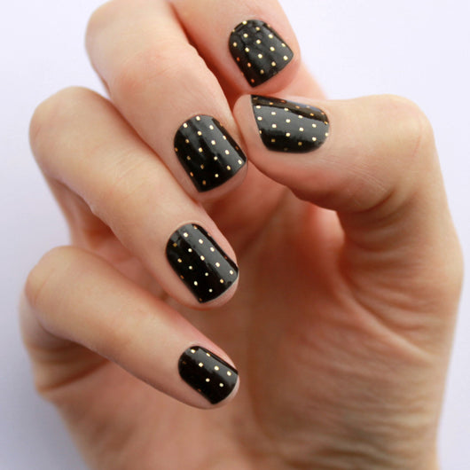 Black & Gold Swiss Dot Nail Wraps