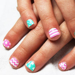 Mint & Pink Chevron Hearts Mini Nail Wraps