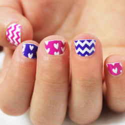 Purple & Hot Pink Chevron Heart Kids Nail Wraps