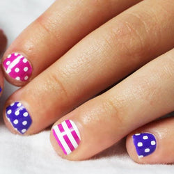 Purple & Hot Pink Stripes Dots Mini Nail Wraps