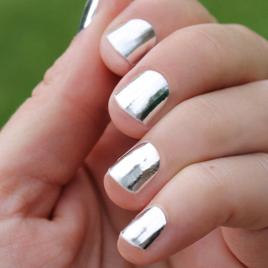 Solid Silver Nail Wraps