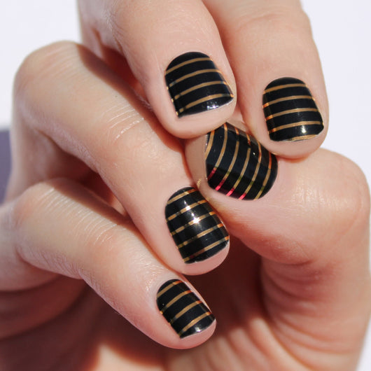 Black & Gold Stripe Nail Wraps