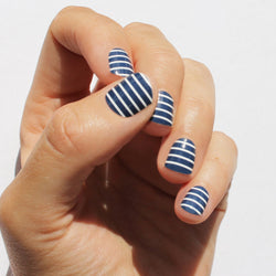 Navy & White Stripe Nail Wraps