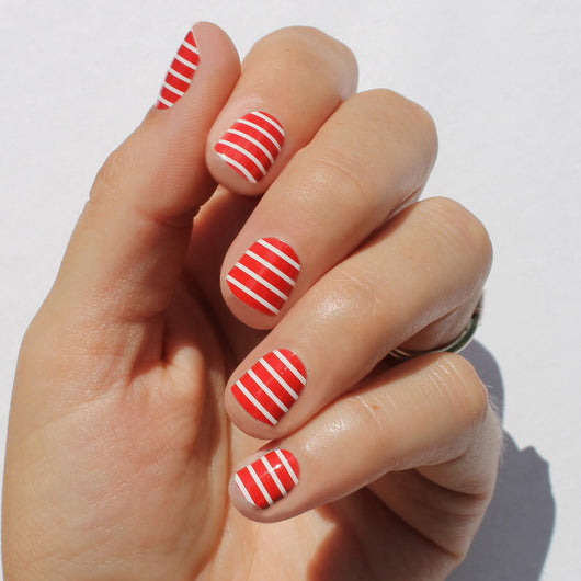 Red & White Stripe Nail Wraps