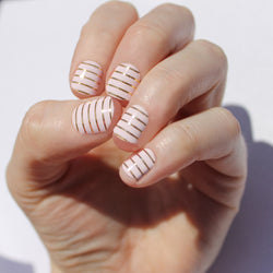 Whisper Pink & Gold Stripe Nail Wraps