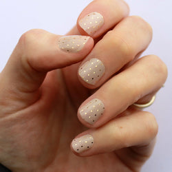 Nude & Gold Swiss Dot Nail Wraps
