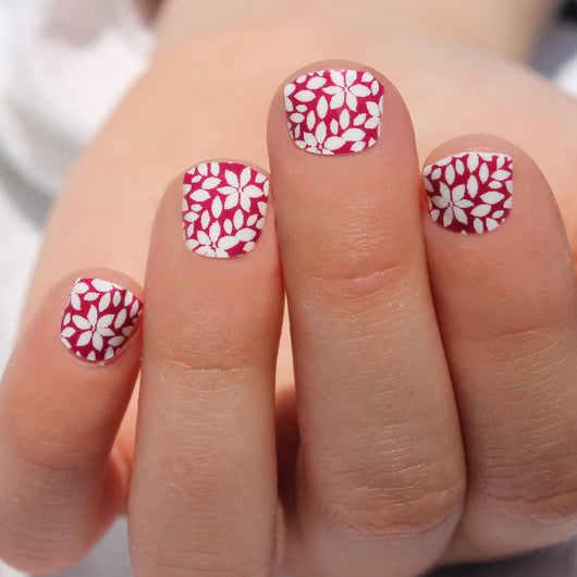 Raspberry Flower Kids Nail Wraps