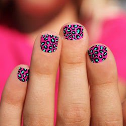 Pink & Mint Leopard Kids Nail Wraps