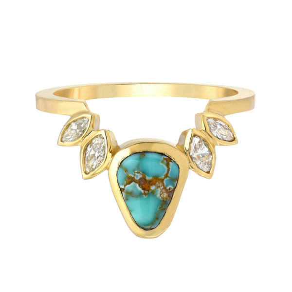 TURQUOISE AND DIAMOND SET IN 14K YELLOW GOLD RING