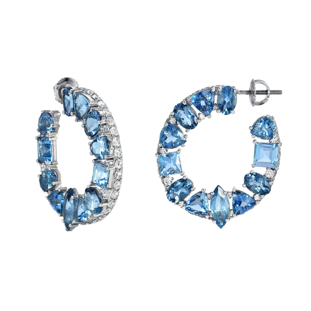 Aquamarine Birthstone and Diamond Earrings